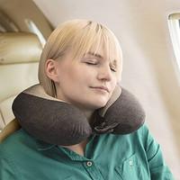 TRAVELON凝胶U型枕慢回弹记忆棉护颈枕睡枕靠枕双面颈枕 13359 黑配灰色530 *3件