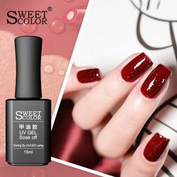 SweetColo甲油胶流行网红色指甲油胶 浆果冰沙15ml 红钻系列 辣椒红 *5件