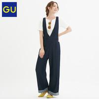GU极优女装牛仔背带裤卷边复古减龄背带裤女森系319639