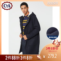 C&A学院休闲连帽羊毛呢大衣男 冬季中长款拉链外套CA200211183