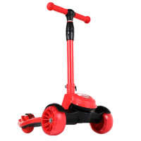 精典泰迪滑板车 儿童可折叠宽轮滑步车多彩闪光轮1-3-6岁滑滑车四档高度调节