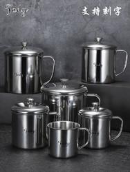 陶迪304不锈钢水杯带盖带手柄茶杯儿童家用大容量牛奶幼儿园口杯