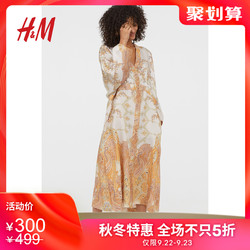 H&M女装风衣 2019春秋新款时尚莱赛尔混纺和服式外套HM0742100