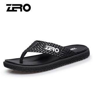 零度男士头层牛皮时尚休闲减震透气编织沙滩人字凉拖鞋子 黑色 43码