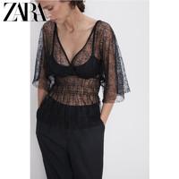 ZARA 新款 女装 蕾丝装饰半透明上衣 09173453800