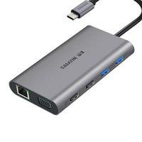 山泽 Type-C扩展坞  适用苹果MacBook华为P30手机USB-C转HDMI/VGA转换器4K投屏转接头网口分线器数据线拓展坞