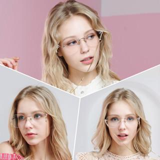ARNOLD PALMER 花雨伞 AP14131 超大无框近视眼镜框架女 (玫瑰金、树脂、非球面)