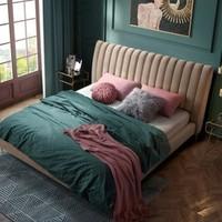 林氏木业 RBJ2A 北欧卧室布艺床 1.5米