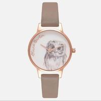 OLIVIA BURTON 绘图动物系列 猫头鹰 女士时装腕表 *2件