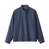 MUJI 无印良品 M9AG306 男女通用  靛蓝染色 落肩 衬衫 深蓝色 L
