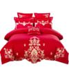 J.H.Longess 布之美 刺绣长绒棉婚庆四件套 (大红、60支、1.8m床、四件套)