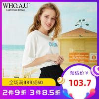 WHO.A.U短袖女2018新款T恤宽松印字休闲T恤女WHRP825F89 *3件