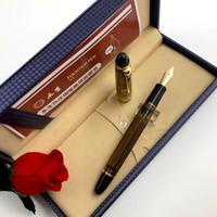 WINGSUNG 永生钢笔 699 钢笔负压上墨14K金笔大容量大明尖新品 半透茶色金夹实色笔握 F尖0.5mm