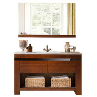谛唯 浴室柜橡胶木实木 现代简约落地靠墙式组合套装