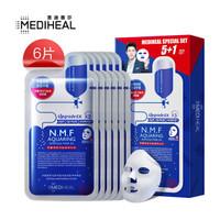 美迪惠尔(Mediheal)水润保湿面膜5+1水库针剂6片套组(补水 男女护肤适用)可莱丝 韩国进口