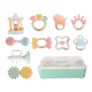 贝恩施婴儿玩具 0-1岁宝宝益智玩具新生儿摇铃磨牙牙胶安抚玩具带收纳盒B270