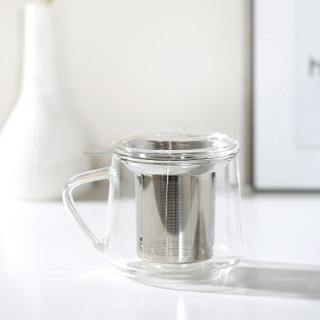 京东京造 高硼硅耐热玻璃泡茶杯茶具 不锈钢茶漏 450ml