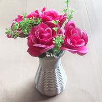 仿真玫瑰花+编织花瓶篮套装