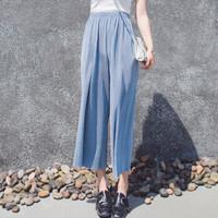朗悦女装 九分垂感阔腿裤 LWKX192194 蓝色 XL