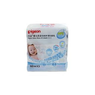 pigeon 贝亲 婴儿柔湿巾 80片 3连包 手部和屁屁适用 *6件