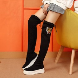 骆驼女鞋保暖绒里系带厚底长筒女靴子弹力袜靴过膝靴
