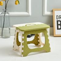 加厚塑料折叠凳 便携折叠椅子火车小凳子 成人家用马扎迷你小板凳 钓鱼凳 绿白-小款