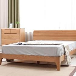 VISAWOOD 维莎原木 w0430-1 白橡木双人床