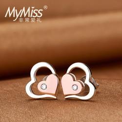 MyMiss 非常爱礼 925银镀铂金 心形耳钉