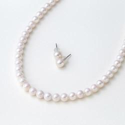 Maria 6.5mm阿古屋珍珠项链+耳钉套装 粉白色