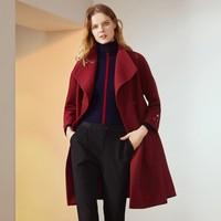 玖姿 冬装新款气质大翻领显瘦中长款羊毛大衣外套