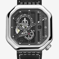 艾戈勒瑞士手表 创意镂空全自动机械表 男士方形大表盘潮表 运动手表 大爆炸系列 A5801