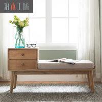 治木工坊 纯实木鞋凳 北欧胡桃色白橡木换鞋凳 进门凳矮凳小鞋柜
