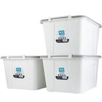 茶花 收纳箱大号整理箱58升 3只装 米白色 *2件