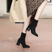 kumikiwa卡米19年冬季彈力絨方頭保暖絨里粗跟基礎款短靴 37 黑色