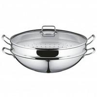 WMF 福騰寶 MACAO雙耳多用中式蒸鍋炒菜鍋4件套 36cm 燃氣灶電磁爐通用