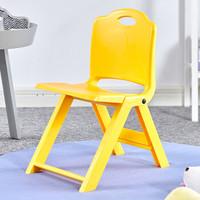 格田彩 加厚塑料小凳子家用便携式折叠凳 靠背椅子小板凳试鞋凳小学生矮凳 黄色(加厚加固)