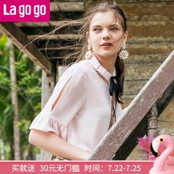 Lagogo19夏季纯色复古上衣雪纺小清新宽松学院风衬衫
