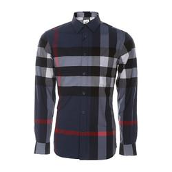 BURBERRY/博柏利BURBERRY/博柏利  男士翻领格纹英伦长袖衬衫 8015032 CARBON BLUE