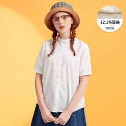 美特斯邦威短袖衬衫女含亚麻半袖衫韩版百搭夏装新款商场款