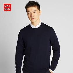 UNIQLO 优衣库 精纺美利奴圆领针织衫  419190