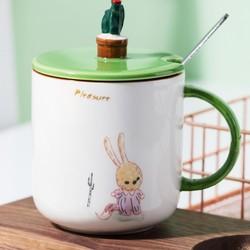 niwawa 卡通带盖带勺陶瓷杯 380ml
