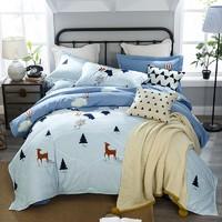 J.H.Longess 加厚纯棉磨毛荷叶边床单四件套 1.5米床
