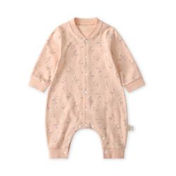 pureborn新生婴儿连体衣服男女宝宝可爱纯棉秋装婴童长袖哈衣爬服 枝头上的小鸟橡皮粉 9-12个月