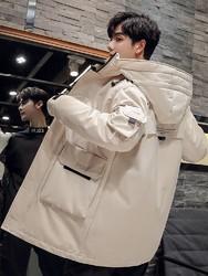 保罗羽绒服男中长款2019新款韩版潮流加厚工装帅气冬季白鸭绒外套
