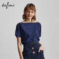 伊芙丽衬衫女新款韩版衬衣女短袖复古宽松格子纯棉一字领小上衣女