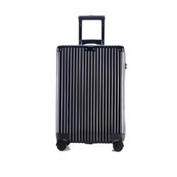 NTNL行李箱ins网红密码箱20寸万向轮旅行箱男24韩版经典竖条拉杆箱女 20寸 黑色