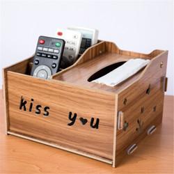 彩龟多功能纸巾盒创意客厅茶几遥控器收纳盒 胡桃木