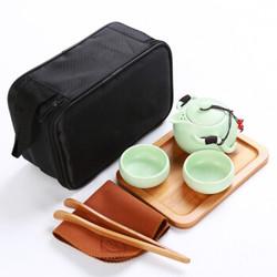 旅行茶具套装定窑功夫陶瓷亚光釉一壶两杯