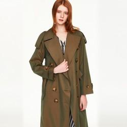 super.natural全棉防水抗皱英伦风经纬双色光泽感双排扣外套女风衣