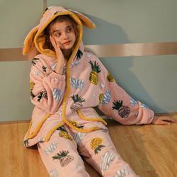 珊瑚绒睡衣女士春秋冬季可爱卡通加绒加厚法兰绒家居服套装两件套